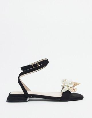 BEBO embellished tie leg sandals in black