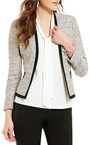Kasper Petite Long Sleeve Metallic Tweed Open Front Jacket