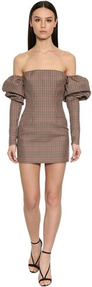 LaQuan Smith Off Shoulder Puffy Sleeves Check Dress