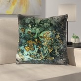 """Luxury Dark Malachite Gold Gem Agate and Marble Texture Throw Pillow East Urban Home Size: 20"""" x 20"""""""