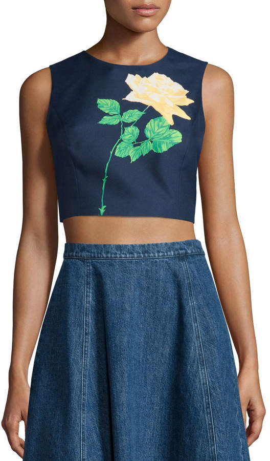 Michael Kors Sleeveless Rose Crop Top, Indigo/Daffodil