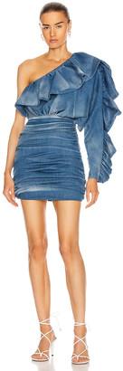 Redemption Mono Sleeve Mini Dress in Shaded Blue | FWRD