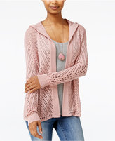 Freshman Juniors' Hooded Pointelle Cardigan