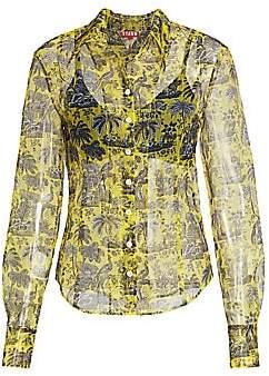 STAUD Women's Brady Layered Tropical Print Blouse
