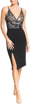 Dress the Population Giulia Sequin Bodice Crepe Sheath Dress