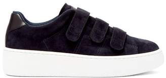 Maison Margiela Exaggerated-sole Suede And Leather Trainers - Mens - Navy