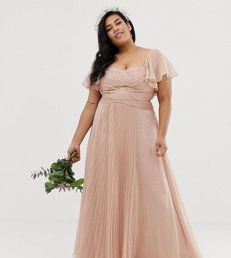 Asos DESIGN Curve Bridesmaid pleated bodice maxi dress with flutter sleeve-Pink