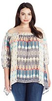 NY Collection Women's Plus Size Printed 3/4 Raglan Sleeve Off the Shoulder Top with Smocked Neck and Sharkbite Hem