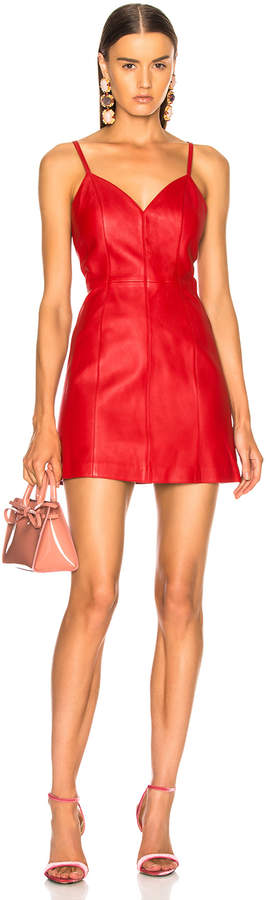 ALEXACHUNG Leather Spaghetti Strap Mini Dress