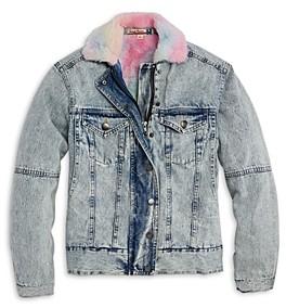 Vintage Havana Girls' Rainbow Faux Fur Denim Jacket - Big Kid