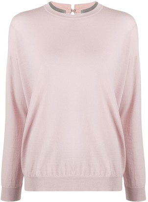 Brunello Cucinelli Beaded-Neck Sweater