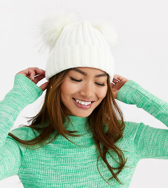 My Accessories London Exclusive double pom beanie hat in winter white