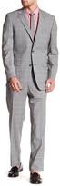 Ike Behar Positano Gray Plaid Two Button Notch Lapel Wool Suit