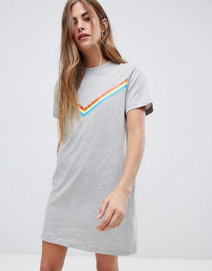 Daisy Street T Shirt Dress with Rainbow Chevron Stripe