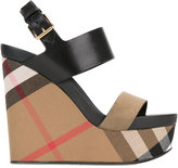 Burberry checked wedge sandals - women - Cotton/Leather/Suede - 35