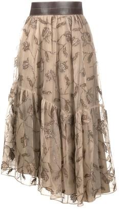 Brunello Cucinelli Embroidered Sequin Tulle Skirt