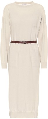 Brunello Cucinelli Belted cashmere knit midi dress