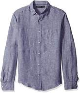 Nautica Men's Long Sleeve Solid Color Button Down Linen Shirt