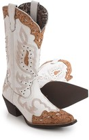 Laredo Cracked Leather Cowboy Boots - Snip Toe (For Women)