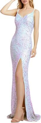 Mac Duggal Bustier Sequin Column Gown