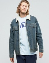 Vans Hargill Borg Collar Denim Jacket In Blue Va2yp1kfm