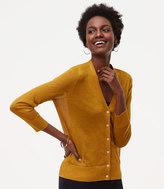LOFT Petite Shimmer Sheer 3/4 Sleeve Cardigan