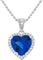 Blue Obsidian & Cubic Zirconia Platinum Over Silver Heart Halo Pendant Necklace