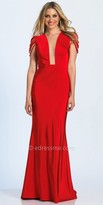Dave and Johnny Illusion Plunging Multi Strap Trumpet Prom Dress
