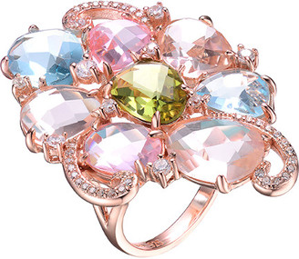 Genevive 14K Rose Gold Over Silver Cz Ring