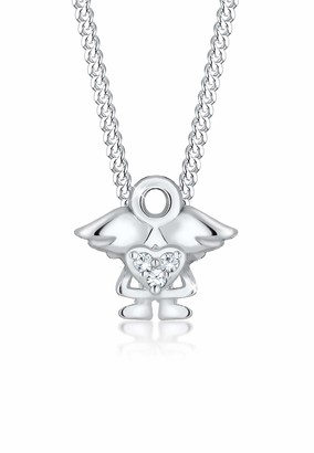 Elli Children's 925 Sterling Silver Gold Plated Girls Heart Cut Out Basic Trendy Sparkling Pendant with Necklace of Length 36 cm