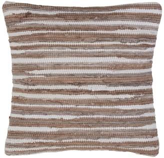 Saro Lifestyle Chindi Woven Leather Down Filled Throw Pillow