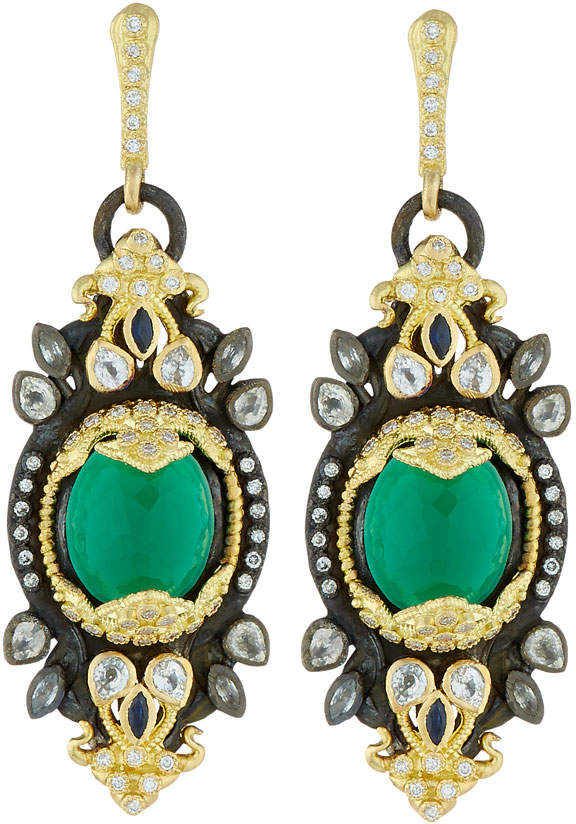 Armenta Old World 18k Green Onyx Cabochon Drop Earrings