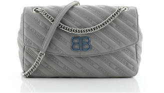 Balenciaga BB Chain Round Shoulder Bag Quilted Embroidered Leather Medium