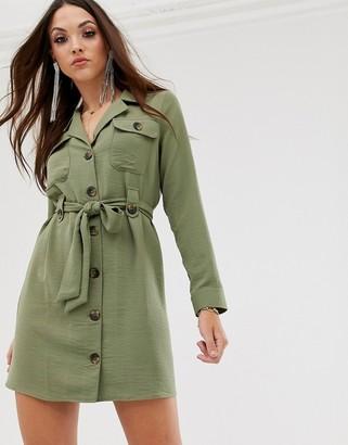 ASOS DESIGN button through belted mini dress