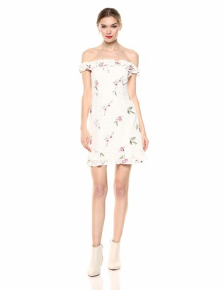 ASTR the Label Women's Monte Off The Shoulder Embroidered Lace Mini Dress