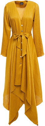 Just Cavalli Asymmetric Belted Crinkled Satin-crepe Shirt Dress
