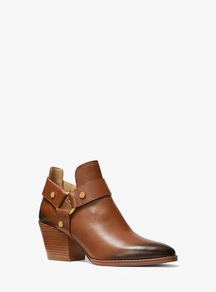 MICHAEL Michael Kors MK Pamela Burnished Leather Ankle Boot - Luggage Brown - Michael Kors