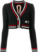 No.21 cable knit striped cropped cardigan