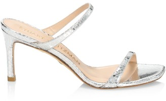 Stuart Weitzman Aleena Snakeskin-Embossed Metallic Leather Mules