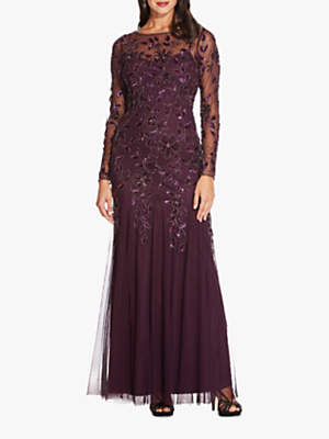 9712b3d3e4b48 Adrianna Papell Beaded Long Leaf Dress, Night Plum