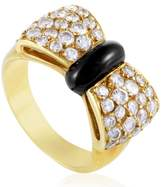 Van Cleef & Arpels 18K Yellow Gold Diamond Pave & Onyx Bow Ring Size 5.5
