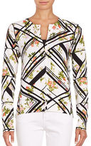 Lord & Taylor Geometric and Floral Print Cardigan