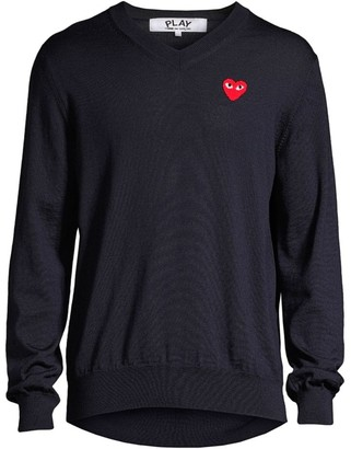 Comme des Garcons Play V-Neck Cotton Sweater