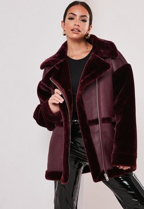 Missguided Wine Faux Fur Sleeve Oversized Aviator Jacket