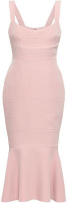 Rachel Gilbert Fluted Crepe Midi Dress