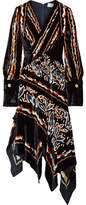 Peter Pilotto Wrap-effect Printed Velvet Midi Dress