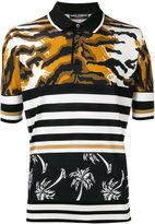 Dolce & Gabbana tiger and palm polo shirt - men - Silk - 48