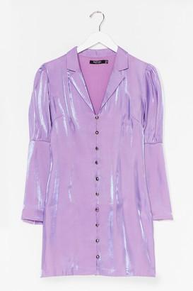 Nasty Gal Womens Let Love Shine Metallic Blazer Dress - Purple - 10