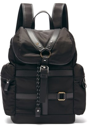 Versace Harness-front Leather-trim Canvas Backpack - Black