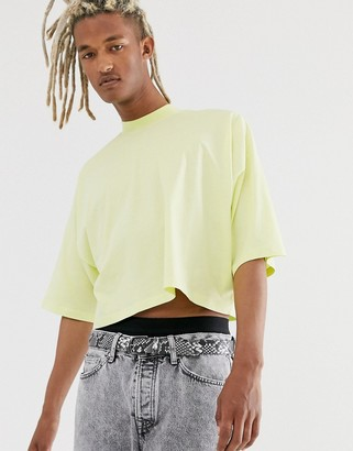 Asos Design DESIGN oversized crop t-shirt with mid sleeve and high neck in pale yellow-Green